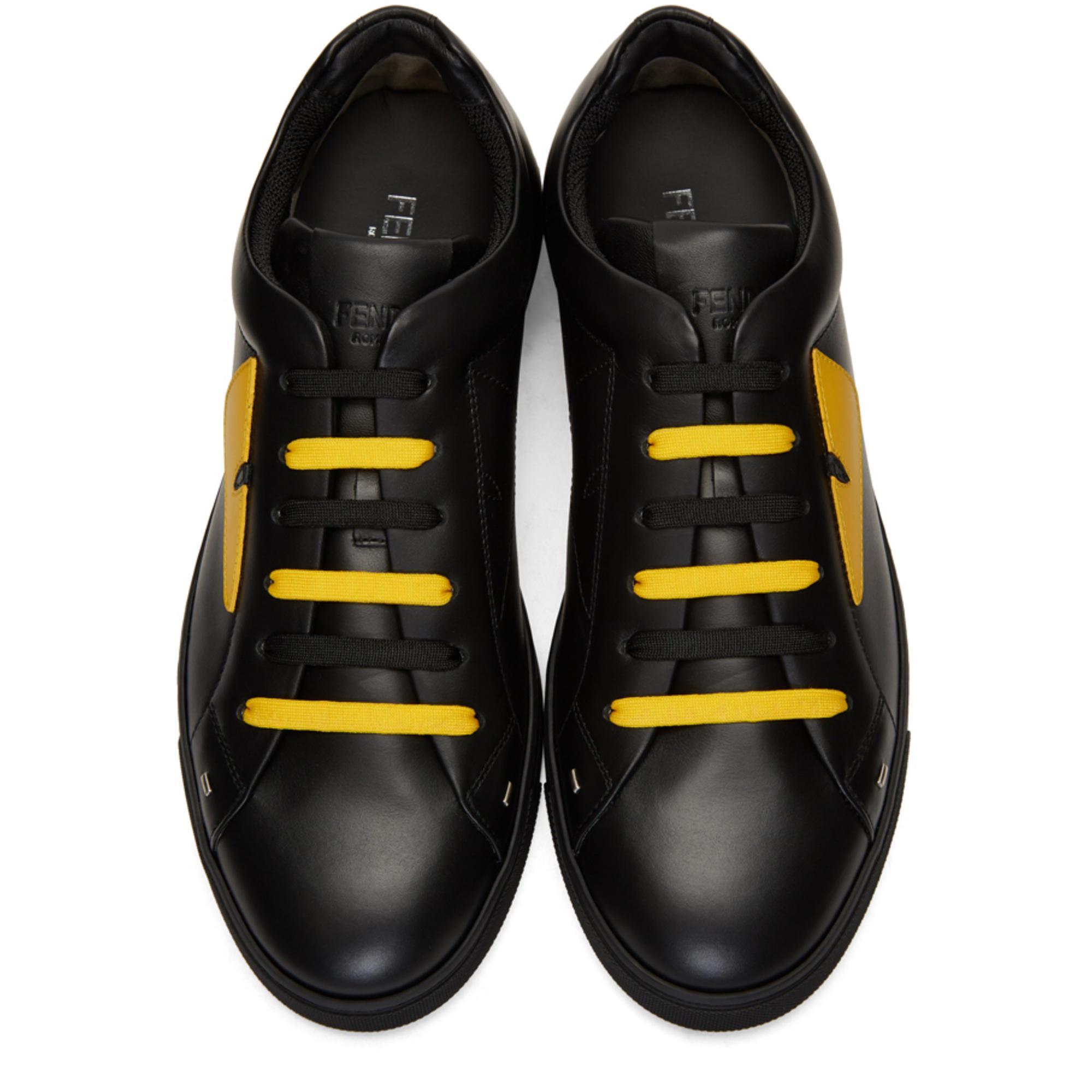 5399579a Fendi Black & Yellow 'bag Bugs' Sneakers for men