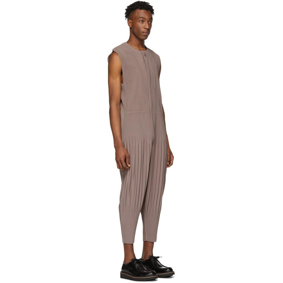 1e4af94a34d Homme Plissé Issey Miyake - Brown Pleats Bottom 3 Jumpsuit for Men - Lyst.  View fullscreen