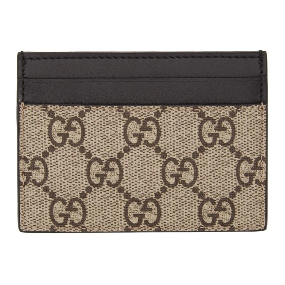 c153ee29198d Gucci - Natural Leather And Monogrammed Coated-canvas Cardholder for Men -  Lyst. View fullscreen