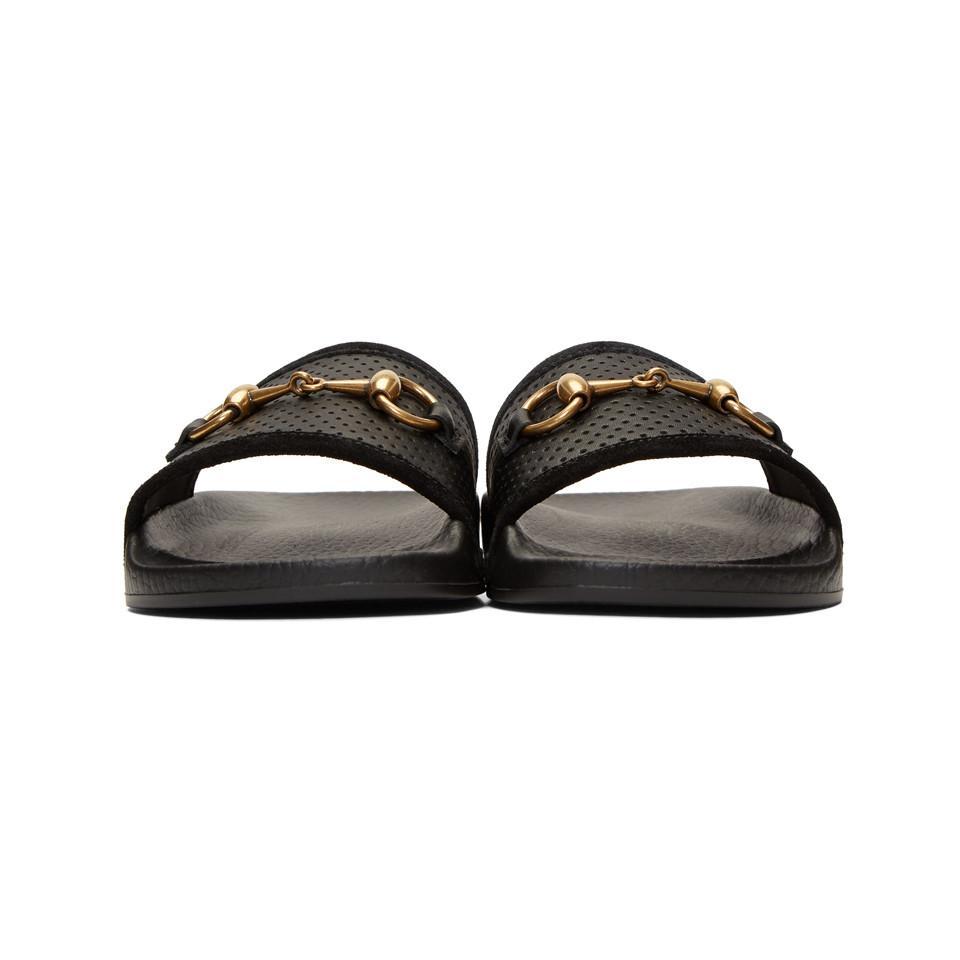 18e36518bd8bd8 Gucci - Black Horsebit Pursuit Slides - Lyst. View fullscreen