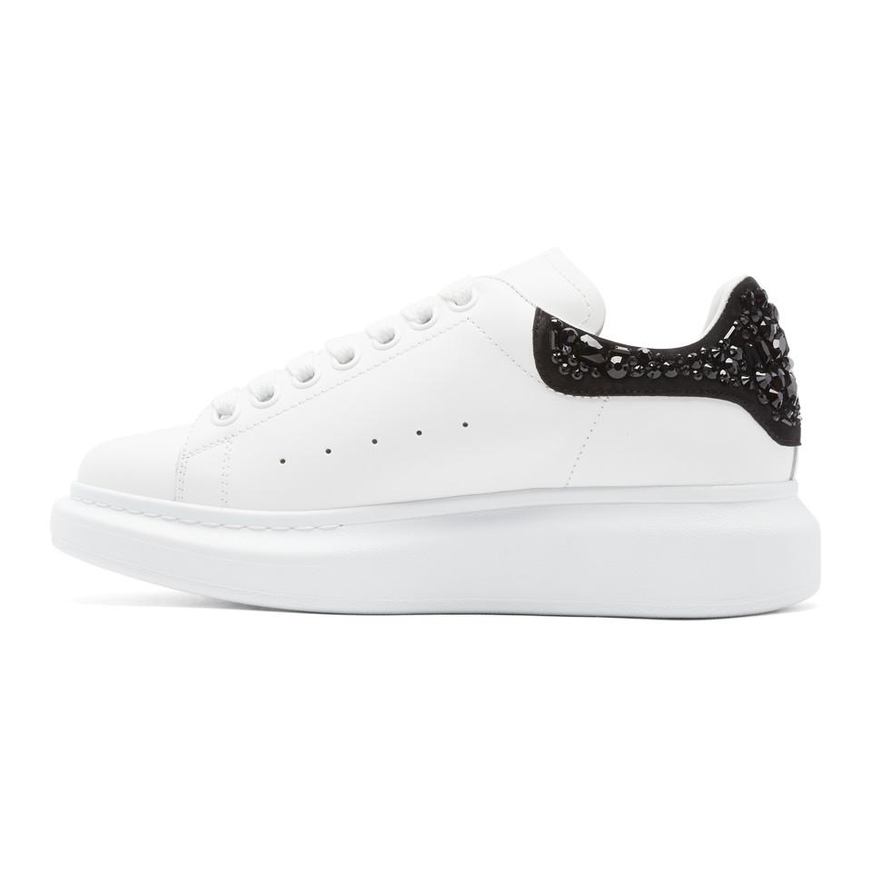 Alexander McQueen Leather White Gemstone Oversized Sneakers