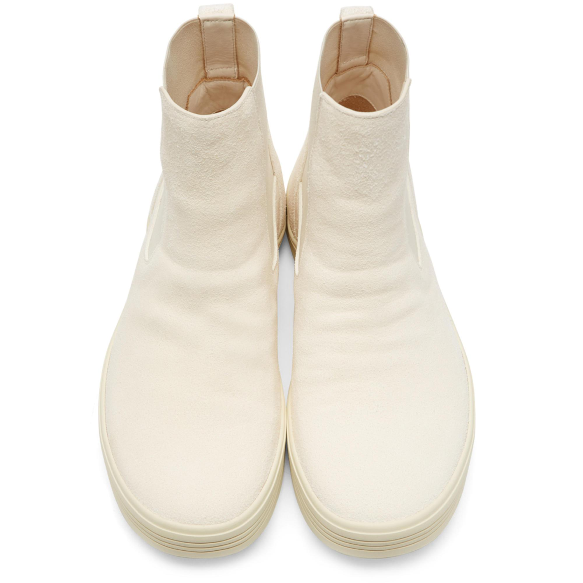 0ee9a3c0317 Rick Owens Off-white Suede Mastodon Elastic Boots