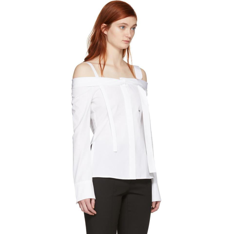 Off-White c/o Virgil Abloh Cotton White Off Off-the-shoulder Shirt