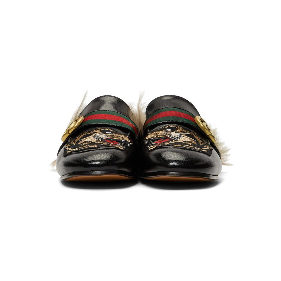 0c4cbf2772c Gucci - Black Angry Cat New Princetown Loafers for Men - Lyst. View  fullscreen