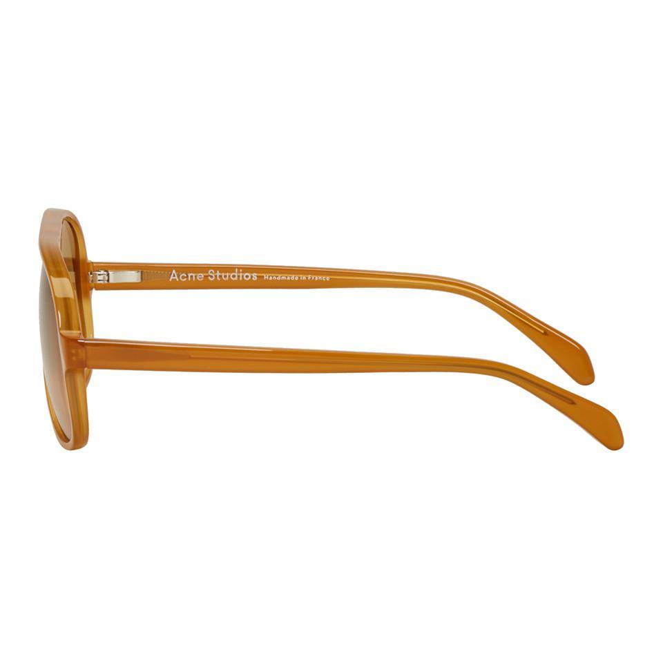 Acne Studios Tan Hole Sunglasses in Honey (Brown)