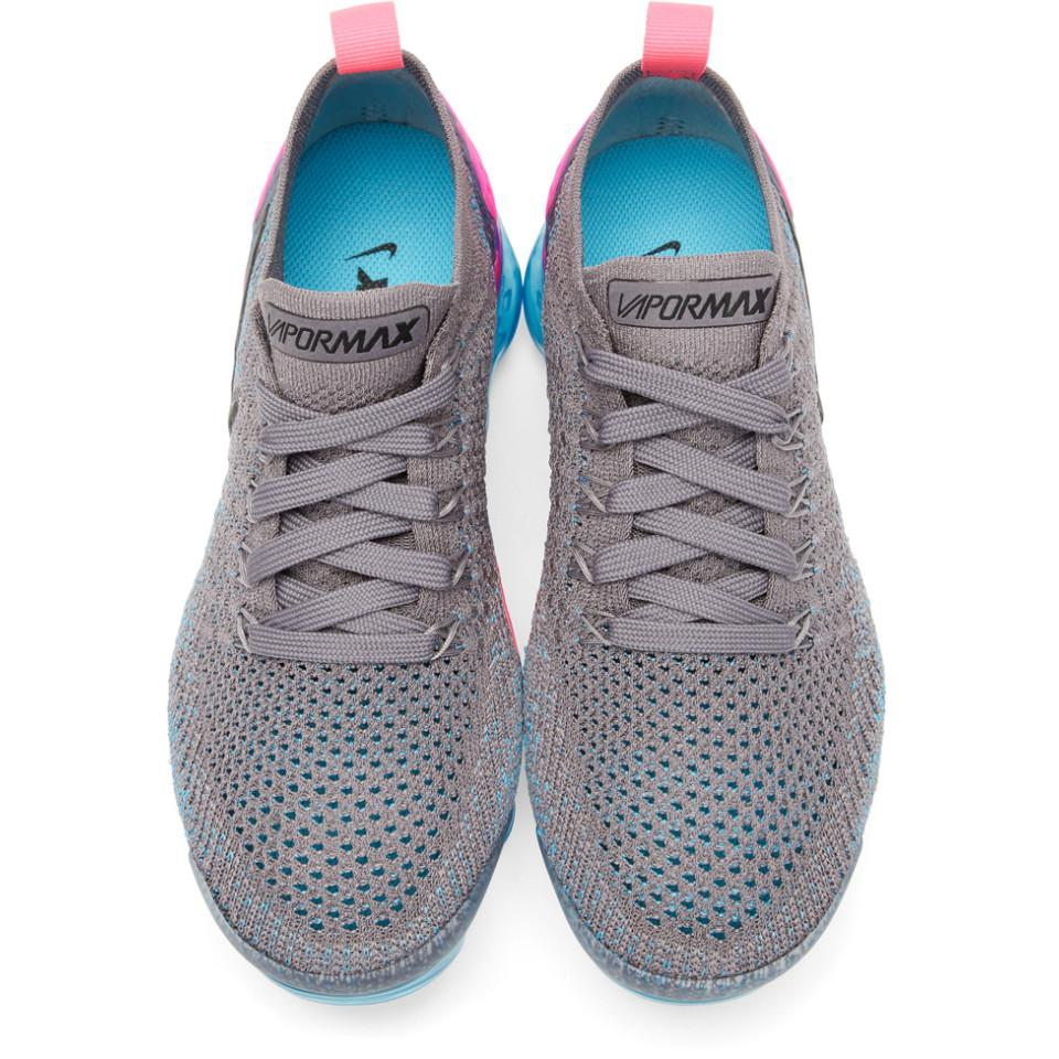 Nike Grey And Blue Air Vapormax Flyknit 2 Sneakers