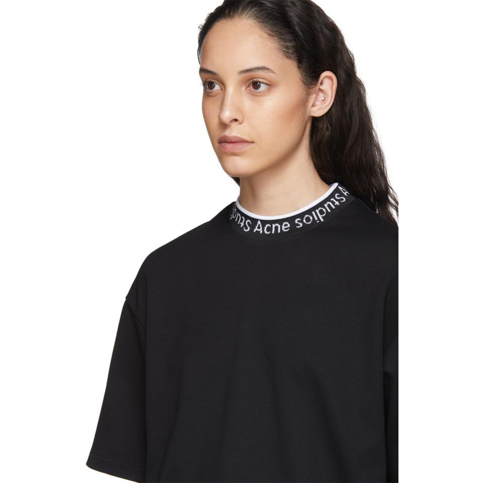 Acne Studios Synthetic Black Logo Neck Sweatshirt - Lyst