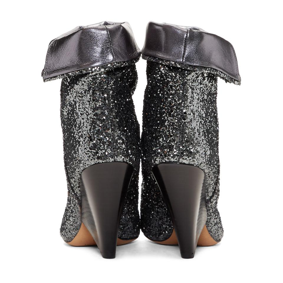 Isabel Marant Leather Gunmetal Glitter Luliana Boots in Black