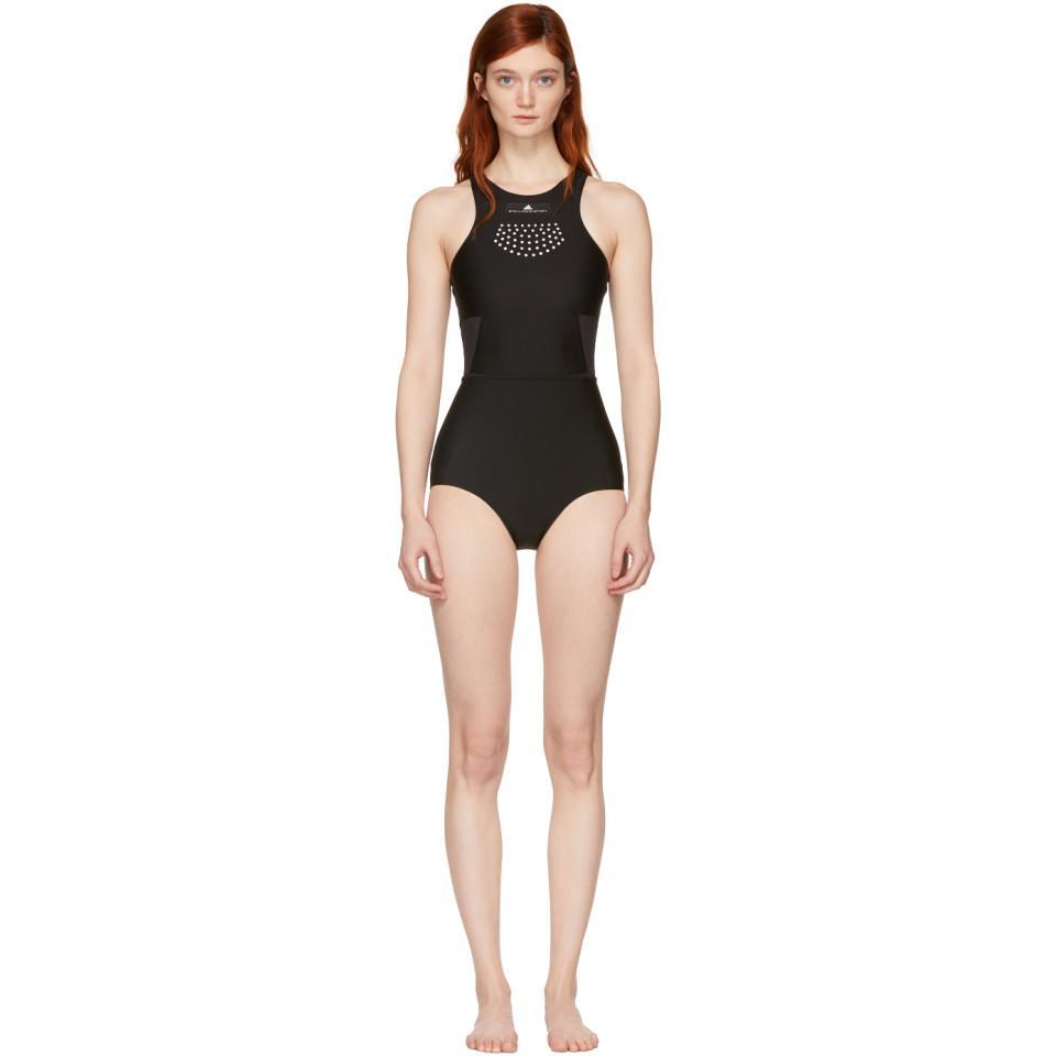 f1a8ef8fc1 Lyst - adidas By Stella McCartney Black High Neck Swimsuit in Black