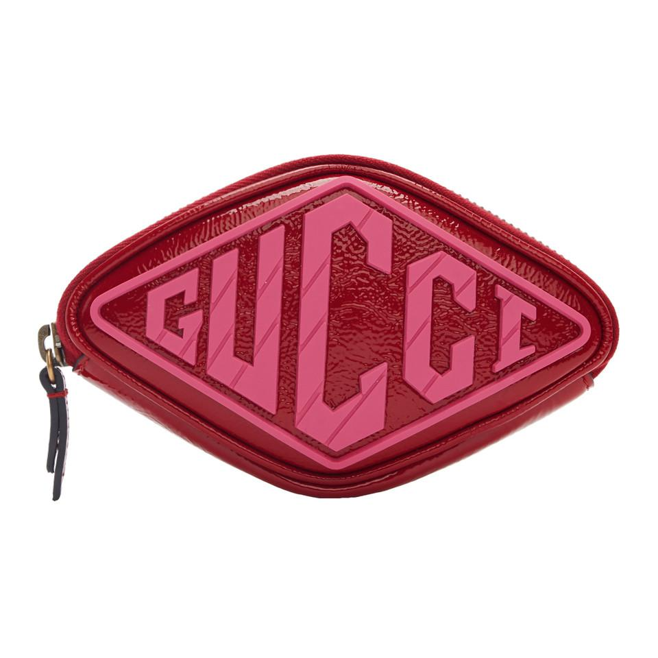 0ac6224dc75b Gucci Red Patent Small Logo Wrist Pouch in Red - Lyst