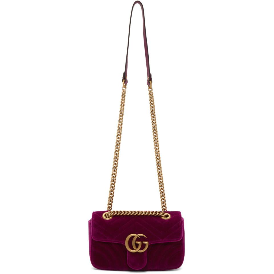 1172325d7a0 Lyst - Gucci Purple Small Velvet GG Marmont 2.0 Bag in Purple - Save 16%