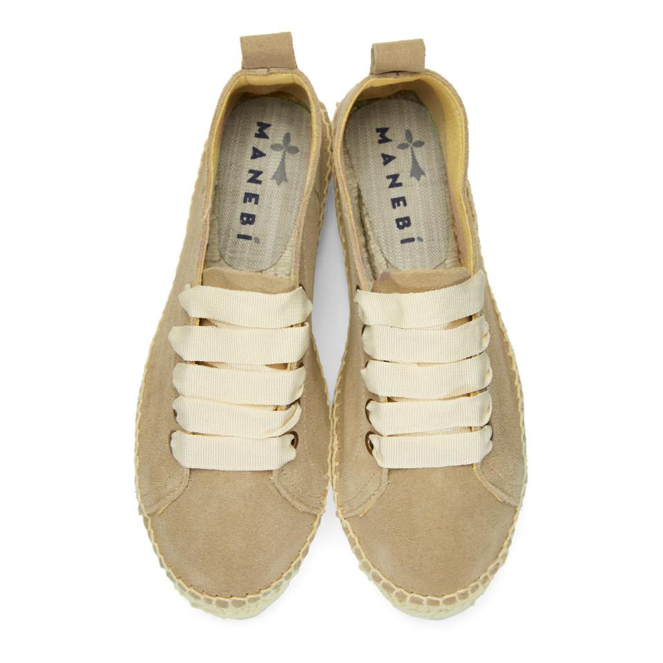 Manebí Suede Taupe Hamptons Double Sneaker Espadrilles