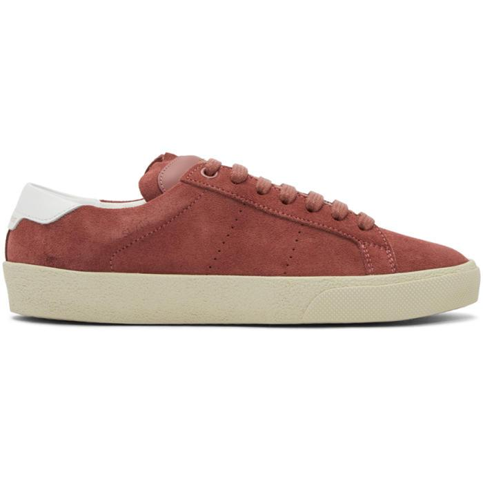 34cb5b7b4f8 Saint Laurent Pink Suede Court Classic Sl/06 Sneakers in Pink - Lyst