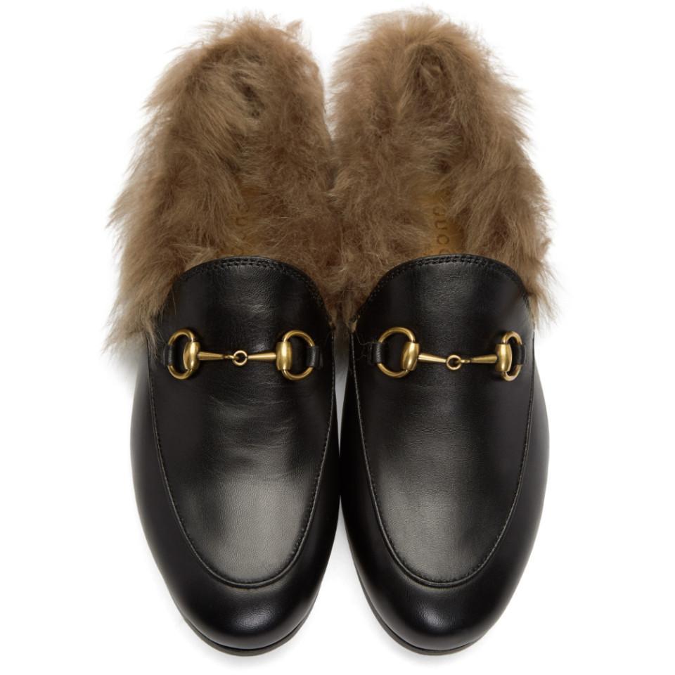 d13596155d4 Lyst - Gucci Black Jordaan Fur Slippers in Black