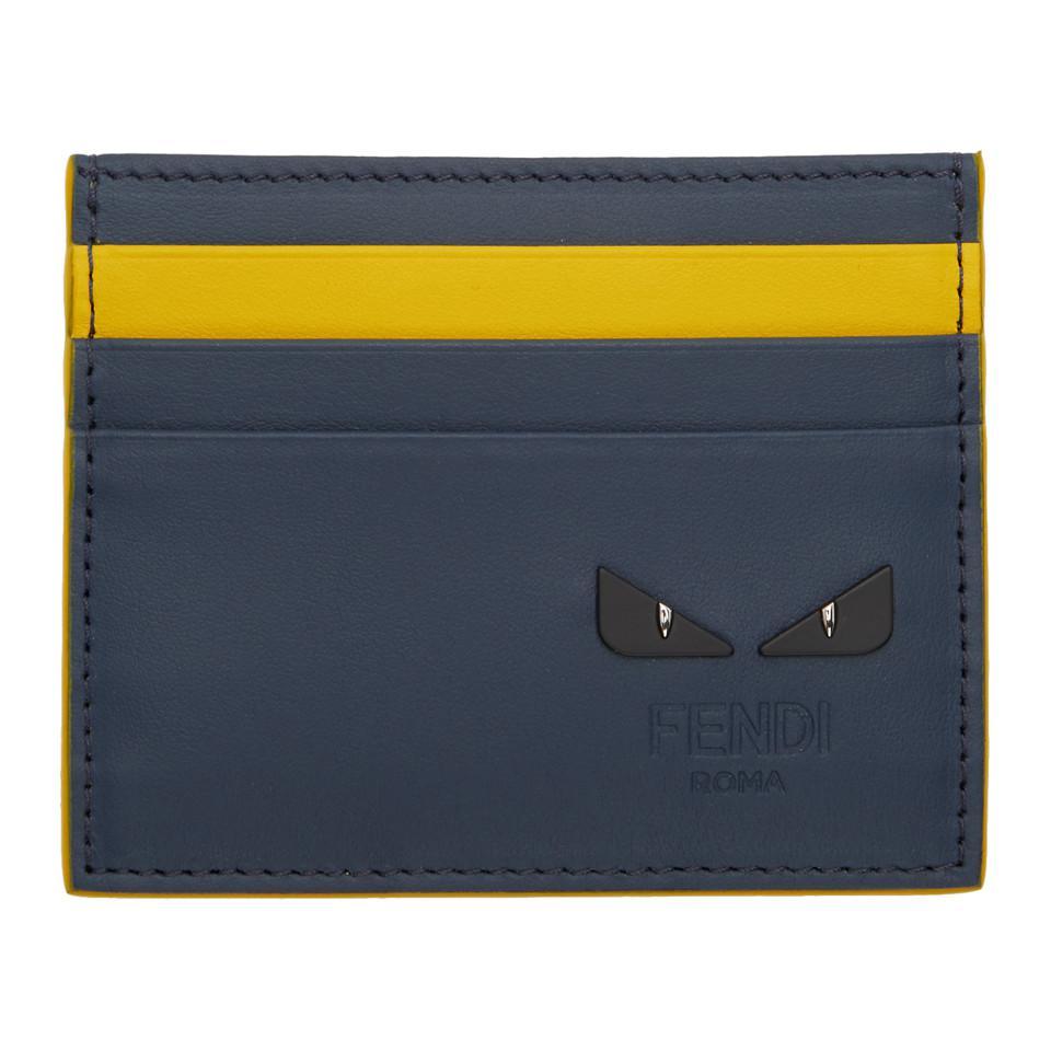 magasin en ligne vente officielle modèles à la mode Porte-cartes bleu marine et jaune I See You Cuir Fendi pour ...