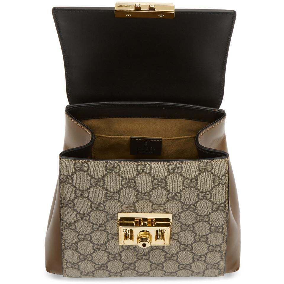 Gucci Brown And Black Padlock GG Supreme Backpack in Brown - Lyst 3b39f97a83b68
