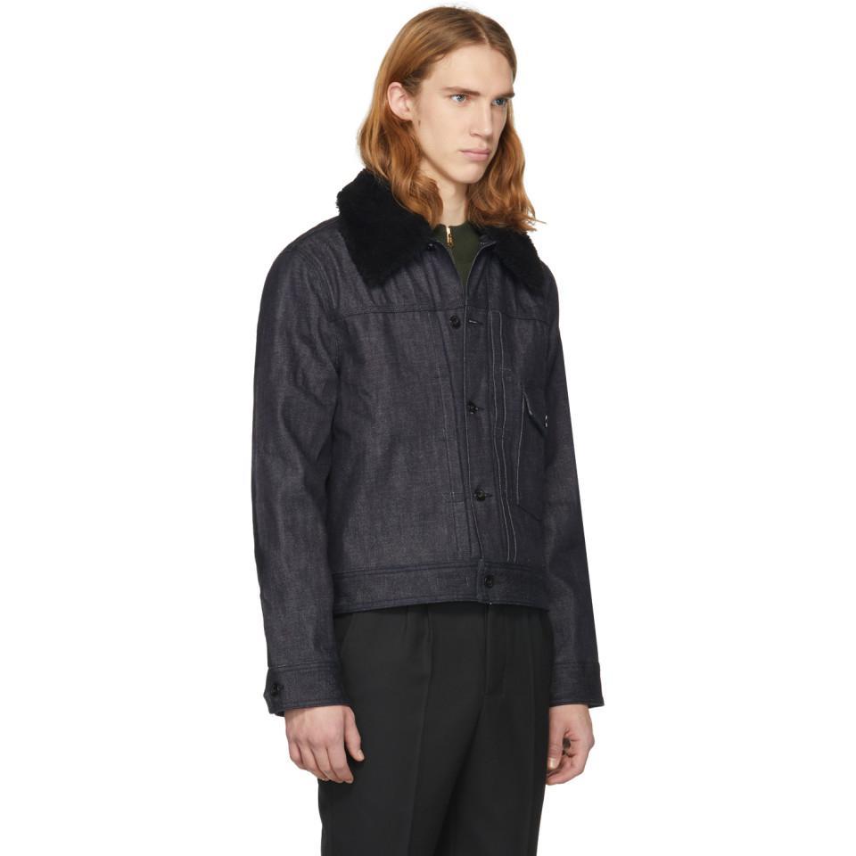 Rag & Bone Indigo Denim Sherpa Bartack Jacket in Blue for Men