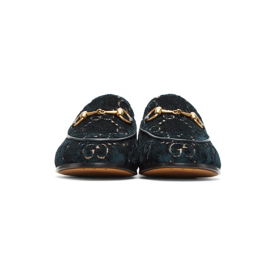 67fcccdc59b Gucci - Blue Velvet GG New Jordaan Loafers - Lyst. View fullscreen