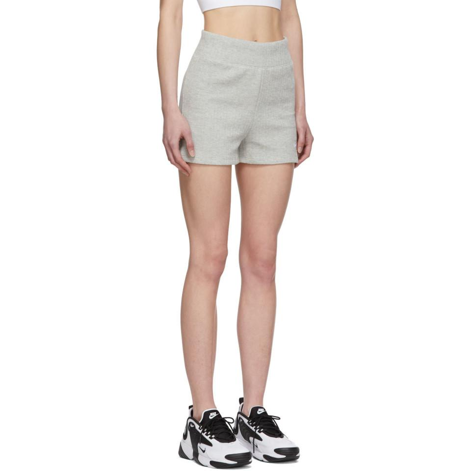 Nike Cotton Grey Ribbed Shorts In Gray Lyst