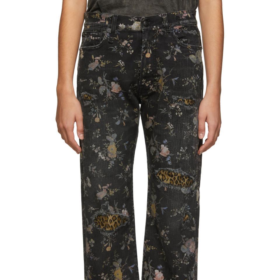 Jean en denim noir et multicolore Floral Boyfriend R13 en coloris Noir