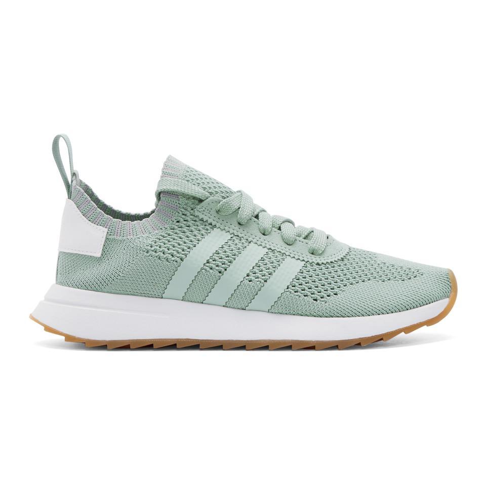 adidas Originals Green & White Flashback Primeknit Sneakers - Lyst