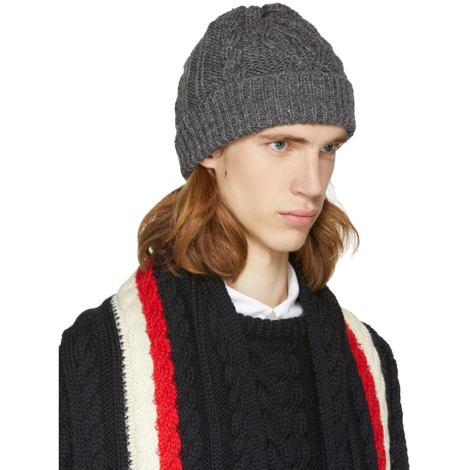 ff82128d00f Lyst - Thom Browne Grey Aran Cable Hat in Gray for Men
