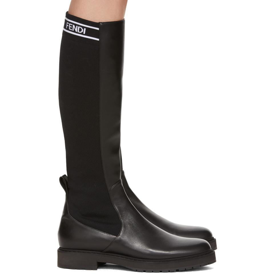 Fendi Leather Black Tall Sock Boots - Lyst
