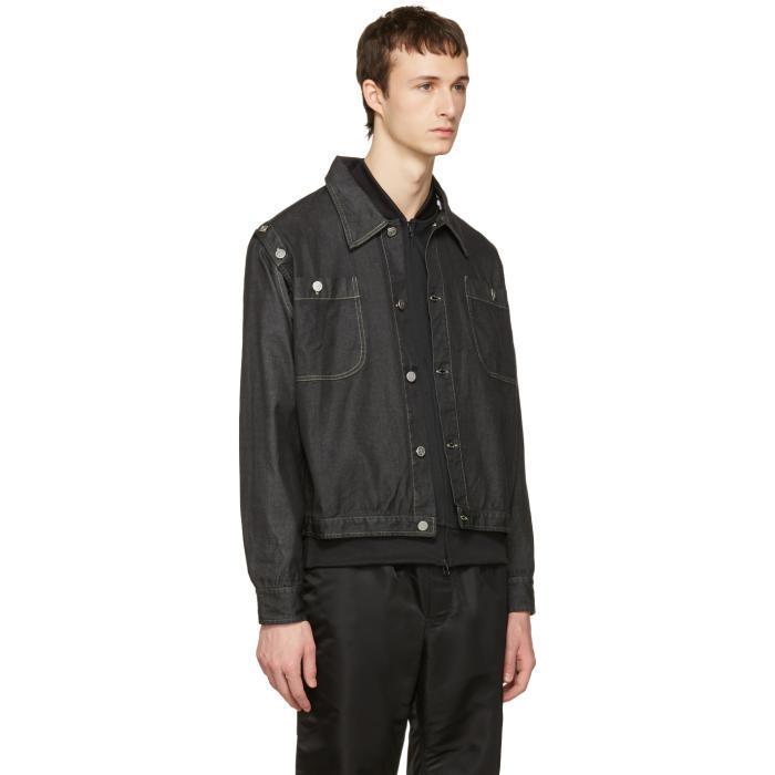 Telfar Black Convertible Denim Jacket for Men