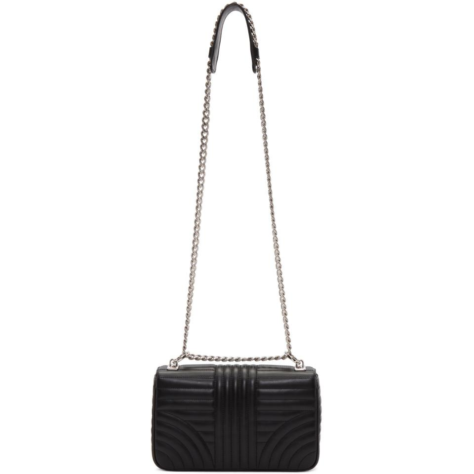 Prada Leather Black Large Quilted Chain Crossbody Bag