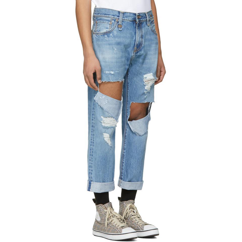 R13 Denim Blue Sid Straight Jeg Ripped Jeans for Men