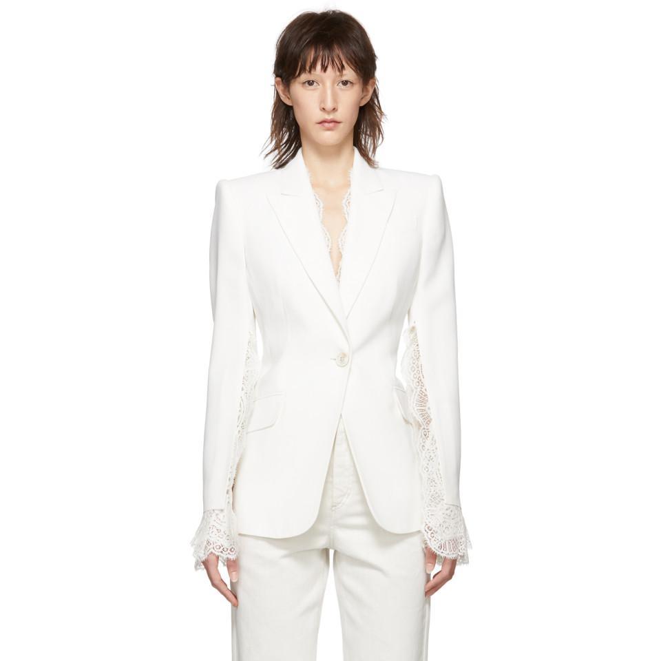 034370d8d Lyst - Alexander McQueen Ivory Slash Sleeve Blazer in White