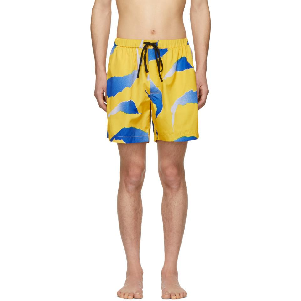 04c9b173f1a38 Lyst - DOUBLE RAINBOUU Yellow And Blue Falling Flying Swim Shorts in ...