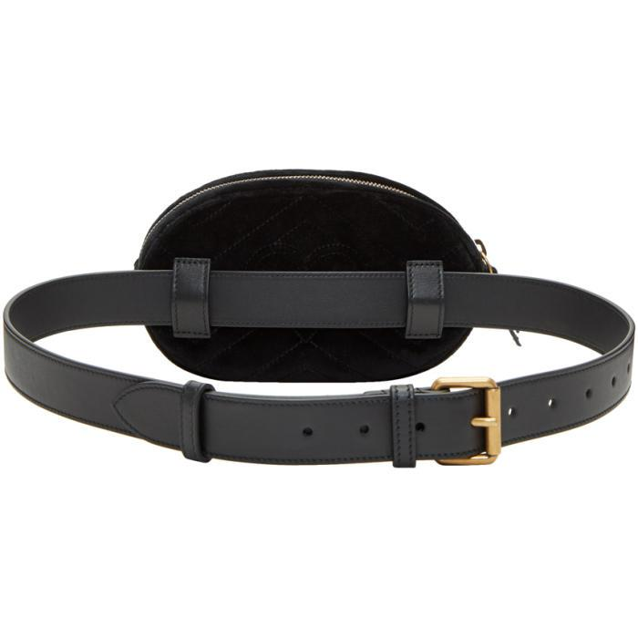 Lyst Gucci Black Velvet Gg Marmont Matelass 233 Belt Bag In