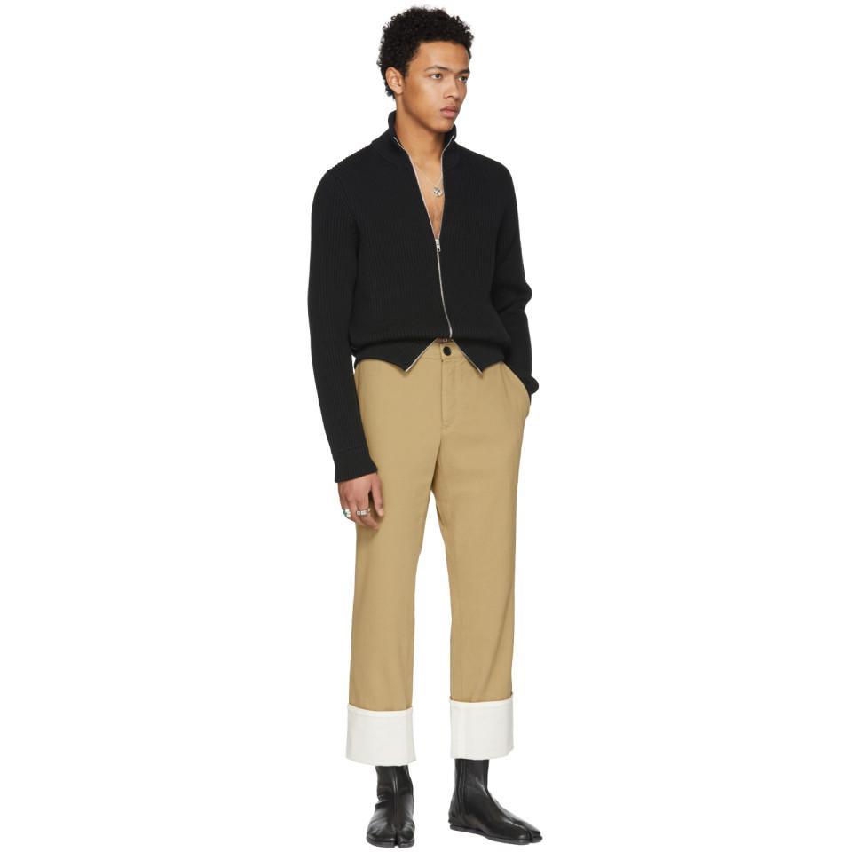 Maison Margiela Cotton Black High-neck Zip Sweater for Men