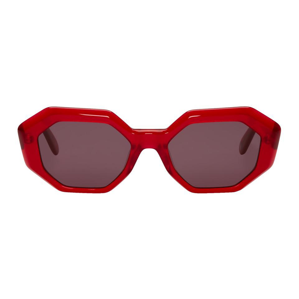 GARRETT LEIGHT Red Jacqueline Sunglasses mUfumv5zq