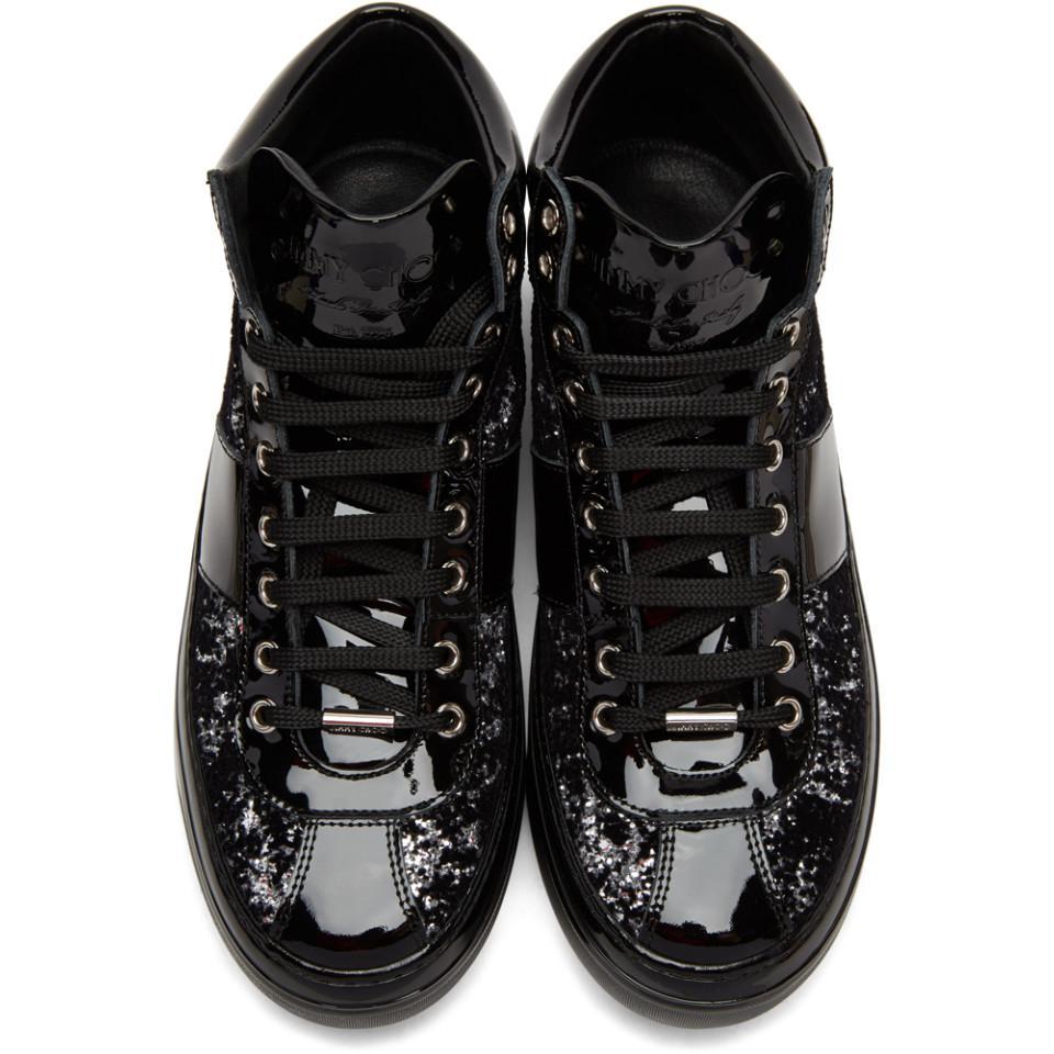Jimmy Choo Black & Silver Velvet Belgravia High-top Sneakers for Men