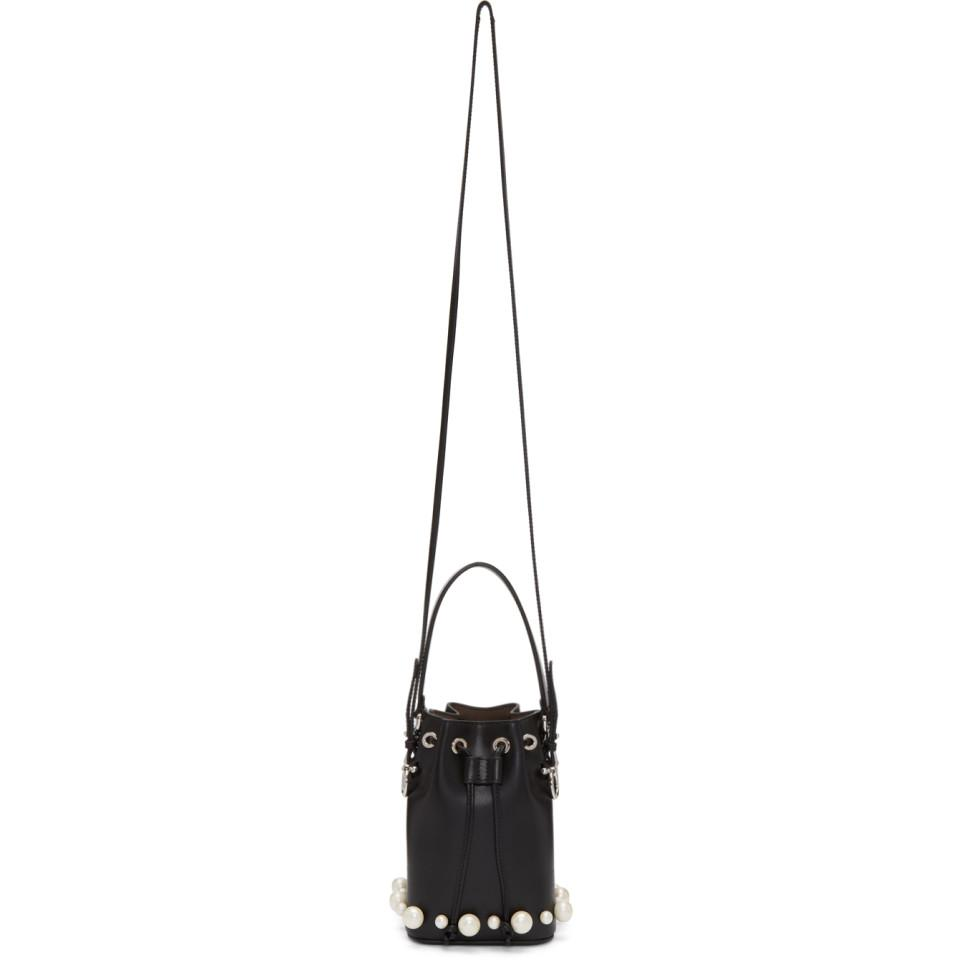 b6b27277ed13 Lyst - Fendi Black Mini Mon Tresor Pearls Bucket Bag in Black