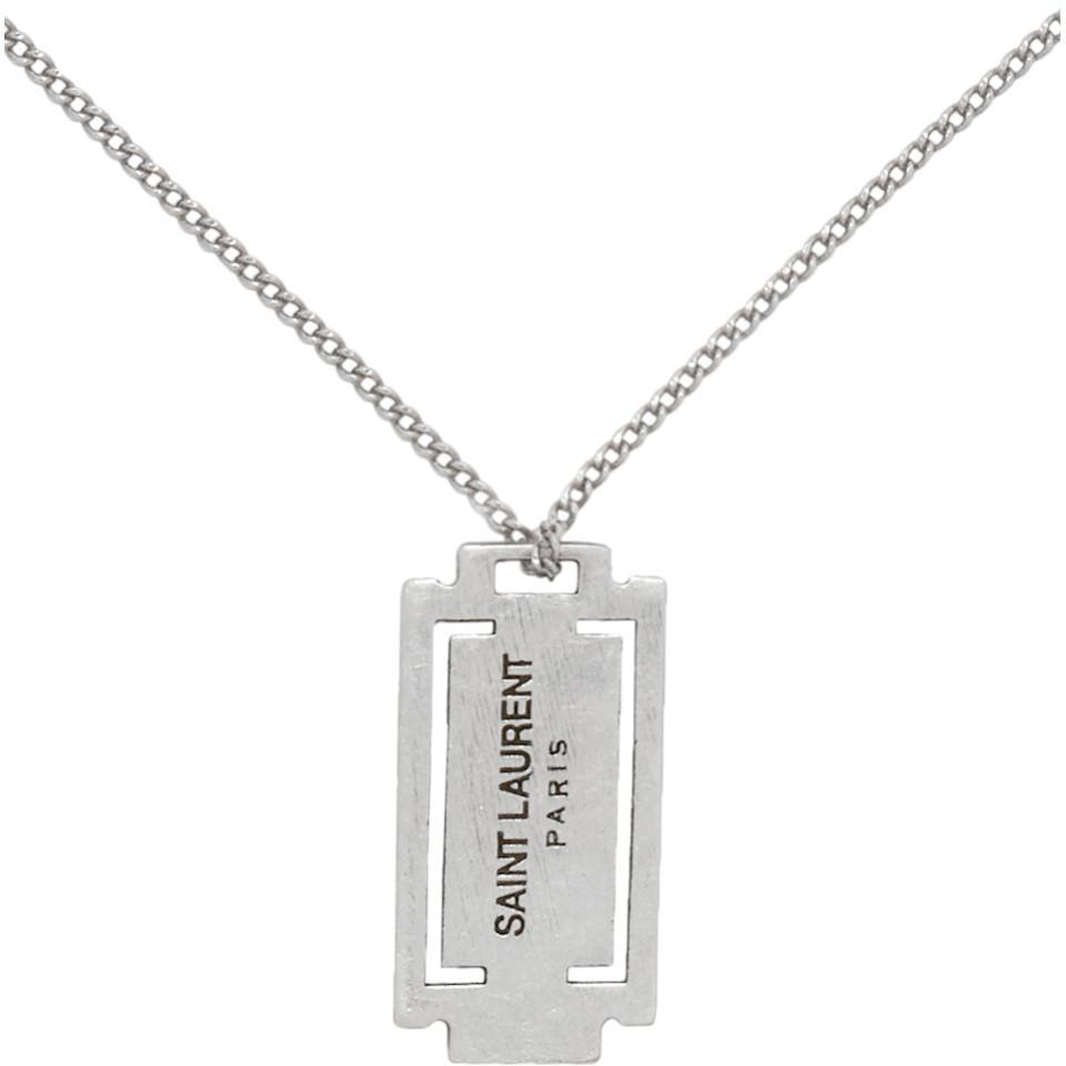 a1dbb3009ef65 Saint Laurent Silver Razor Blade Necklace for Men - Lyst
