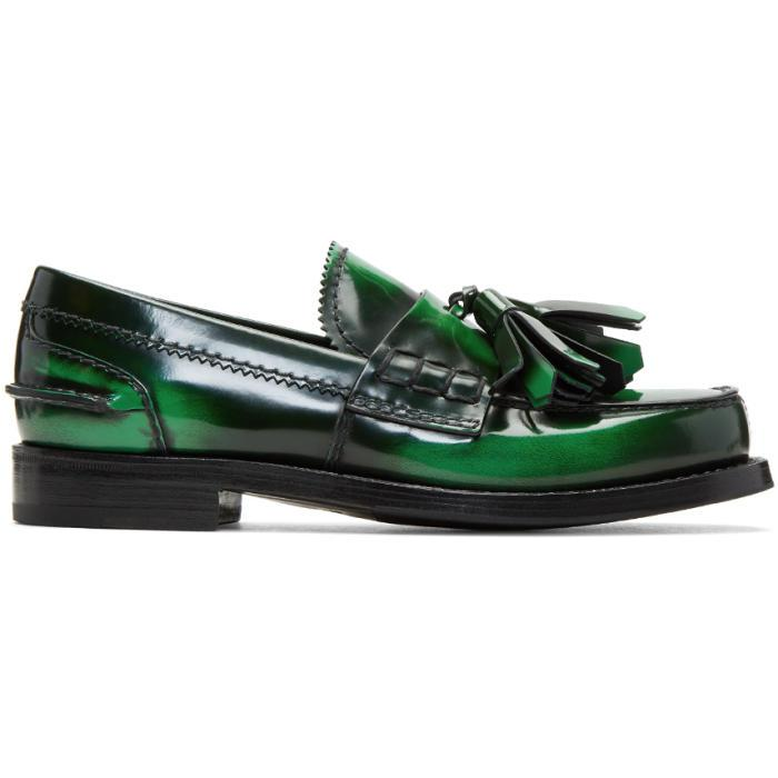 Prada Leather Green Tassel Loafers - Lyst
