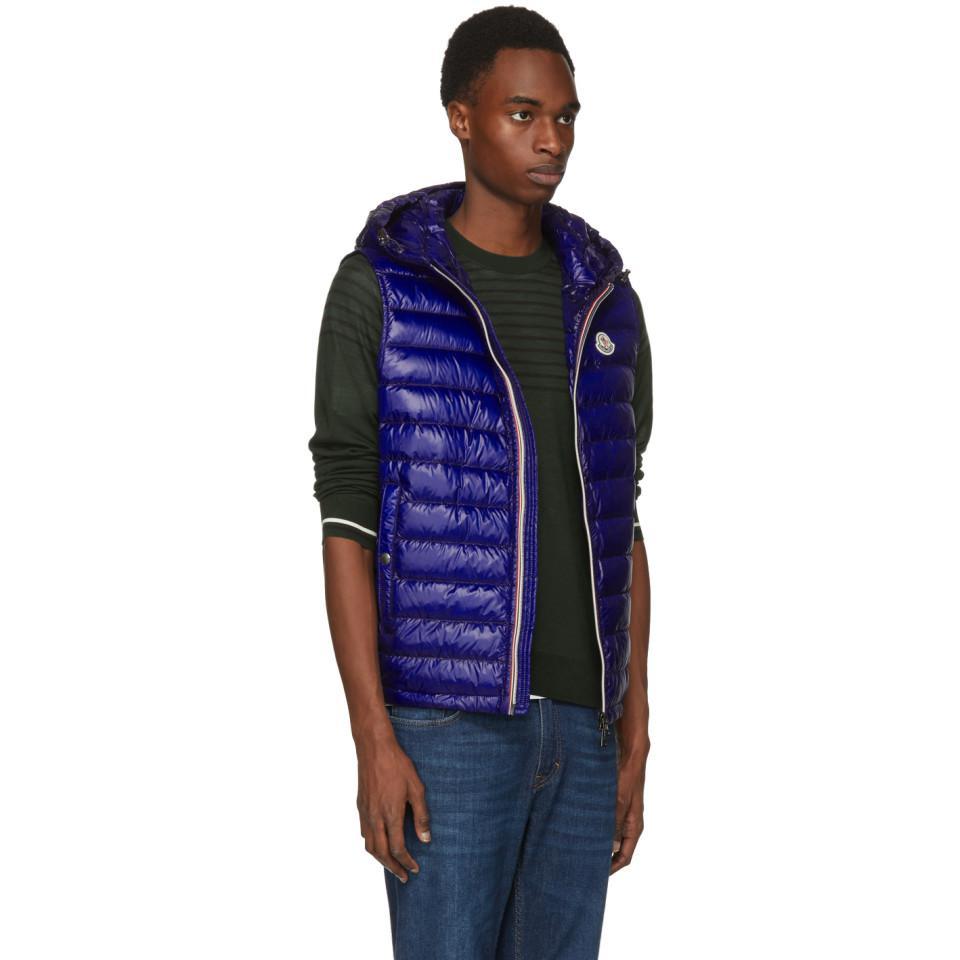 280f665b6603 Moncler Blue Down Gien Vest in Blue for Men - Lyst