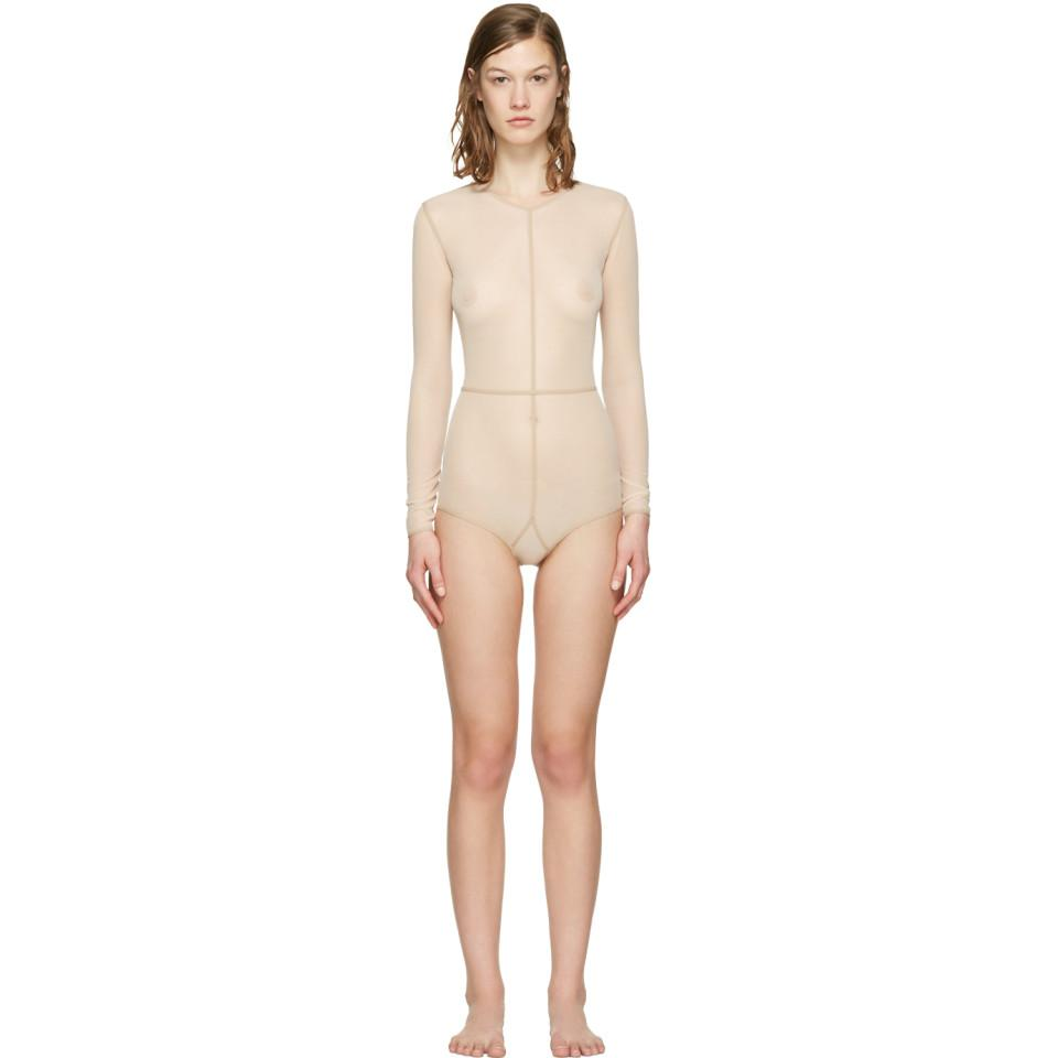 54764acf88 Lyst - Ann Demeulemeester Beige La Fille D o Tulle Bodysuit in Natural