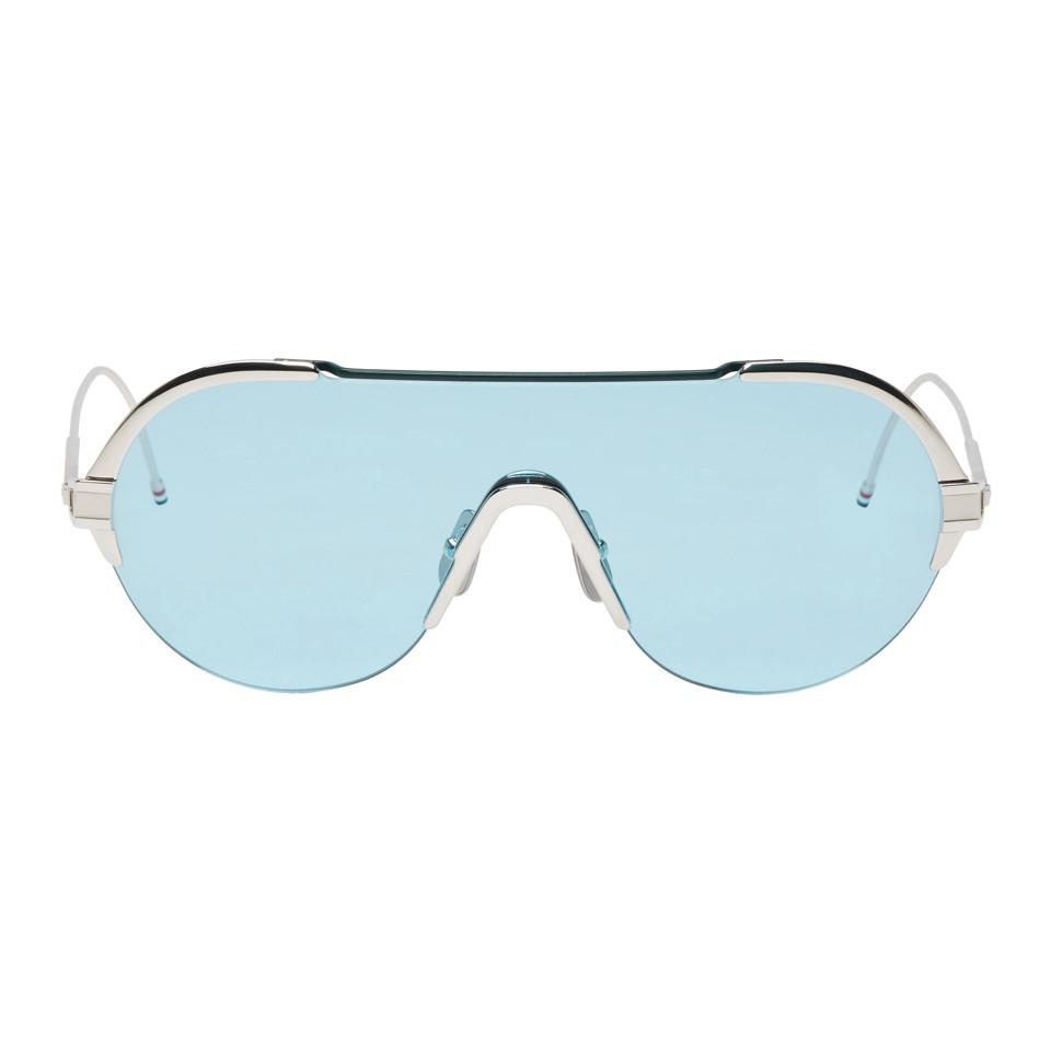 b83b816c589b Thom Browne Silver And Blue Tb-811 Sunglasses in Blue for Men - Lyst