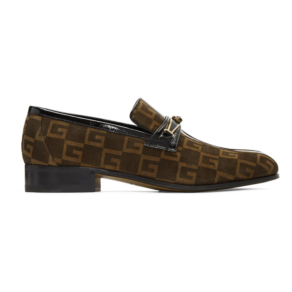 9843c3e7988 Gucci Brown Suede GG Fox Loafers in Brown for Men - Lyst