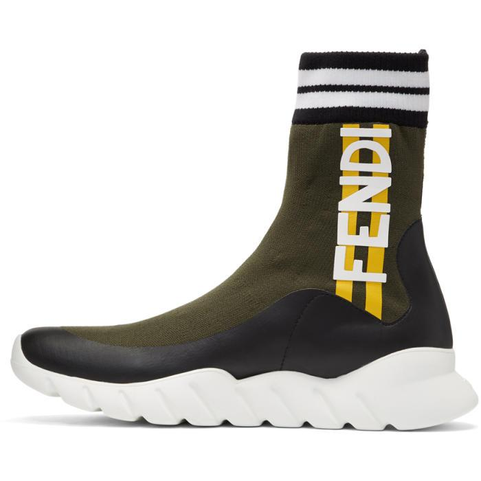 Fendi Rubber Multicolor Sock Think High Top Sneakers In