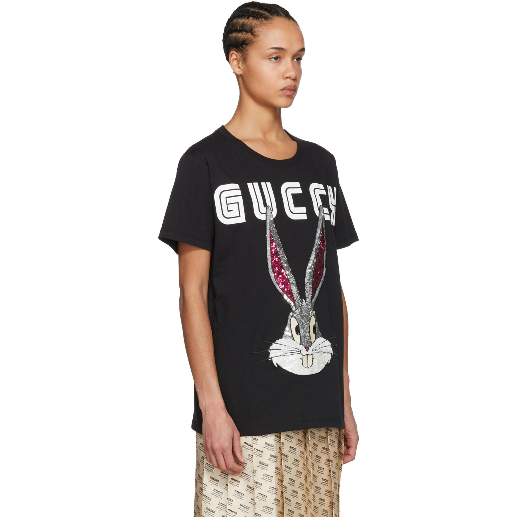 1b40206be21 Lyst - Gucci Black Guccy Crystal Bugs Bunny T-shirt in Black