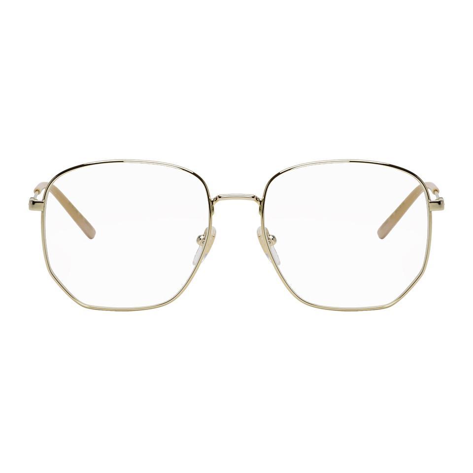 170eb1cecc Gucci - Metallic Gold And Pink Pilot Glasses for Men - Lyst. View fullscreen