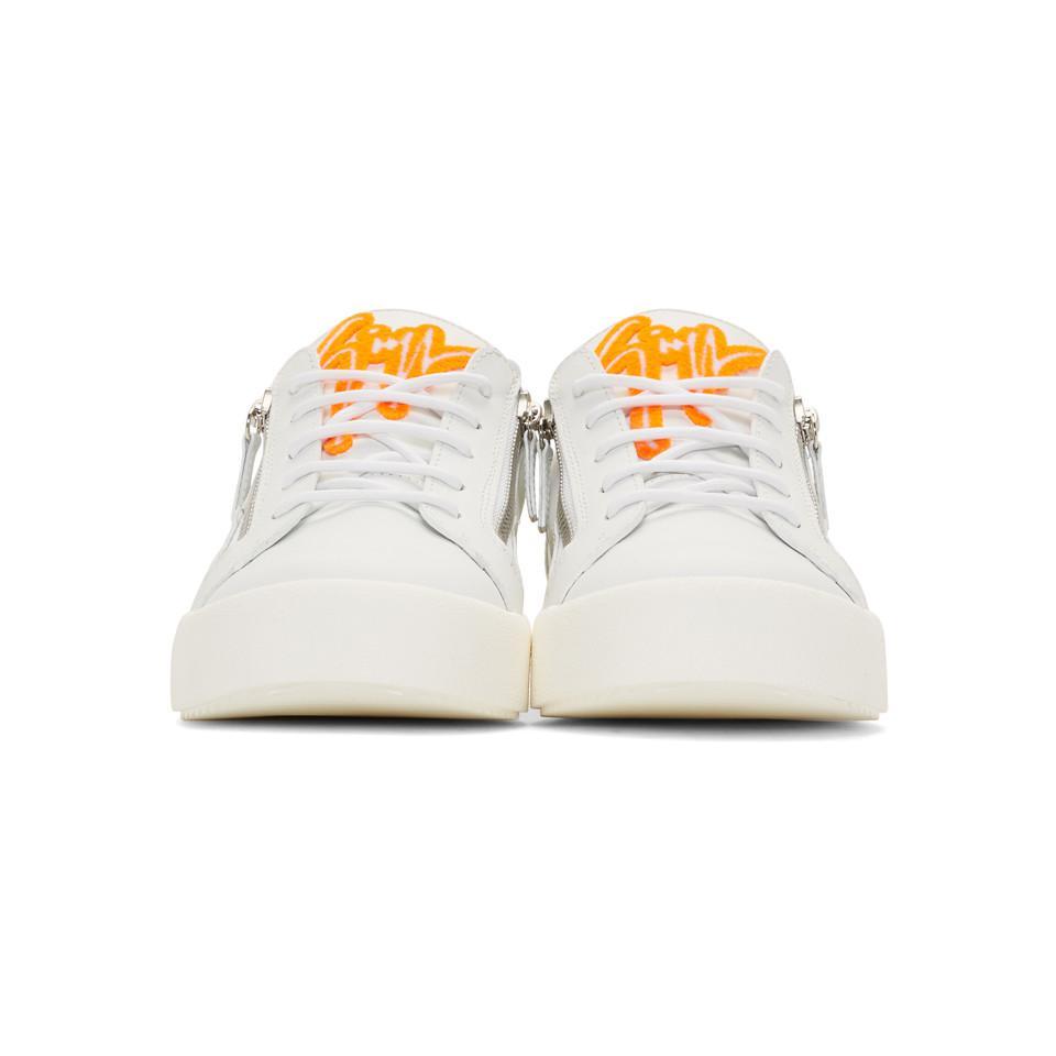 9282443828faf Giuseppe Zanotti - White And Orange Frankie May London Sneakers for Men -  Lyst. View fullscreen
