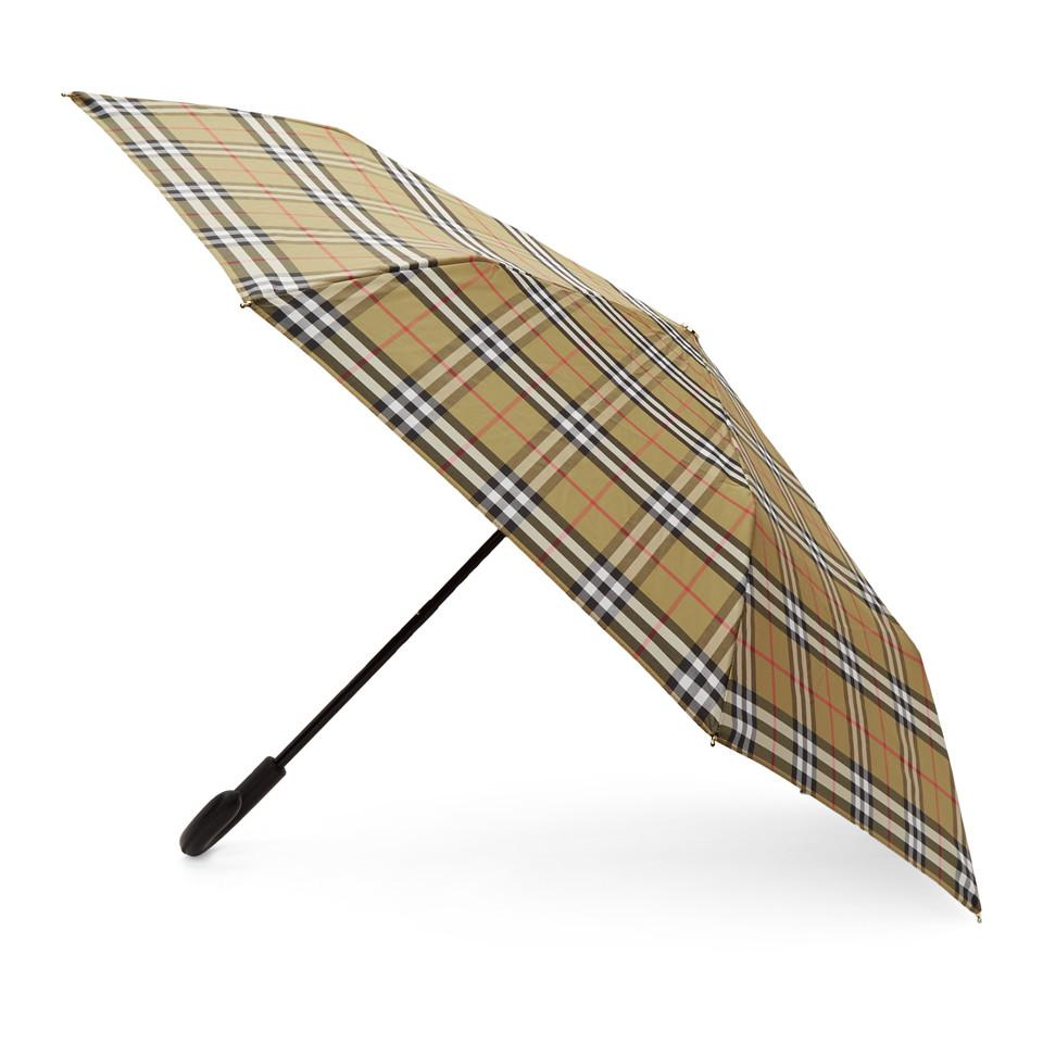60821f552ea Burberry - Yellow Beige Vintage Check Trafalgar Umbrella - Lyst. View  fullscreen