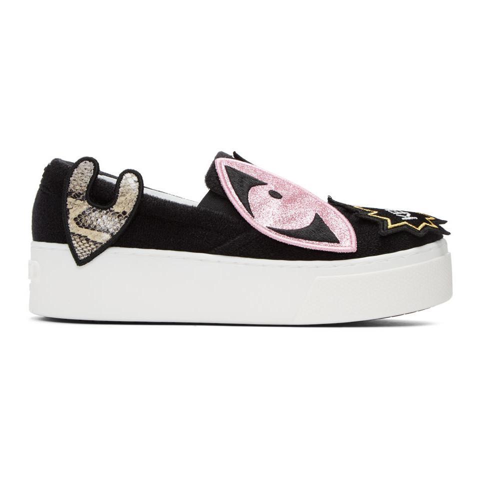 Charlotte Olympia Black K-Patch Platform Slip-On Sneakers mZj02aiMWe