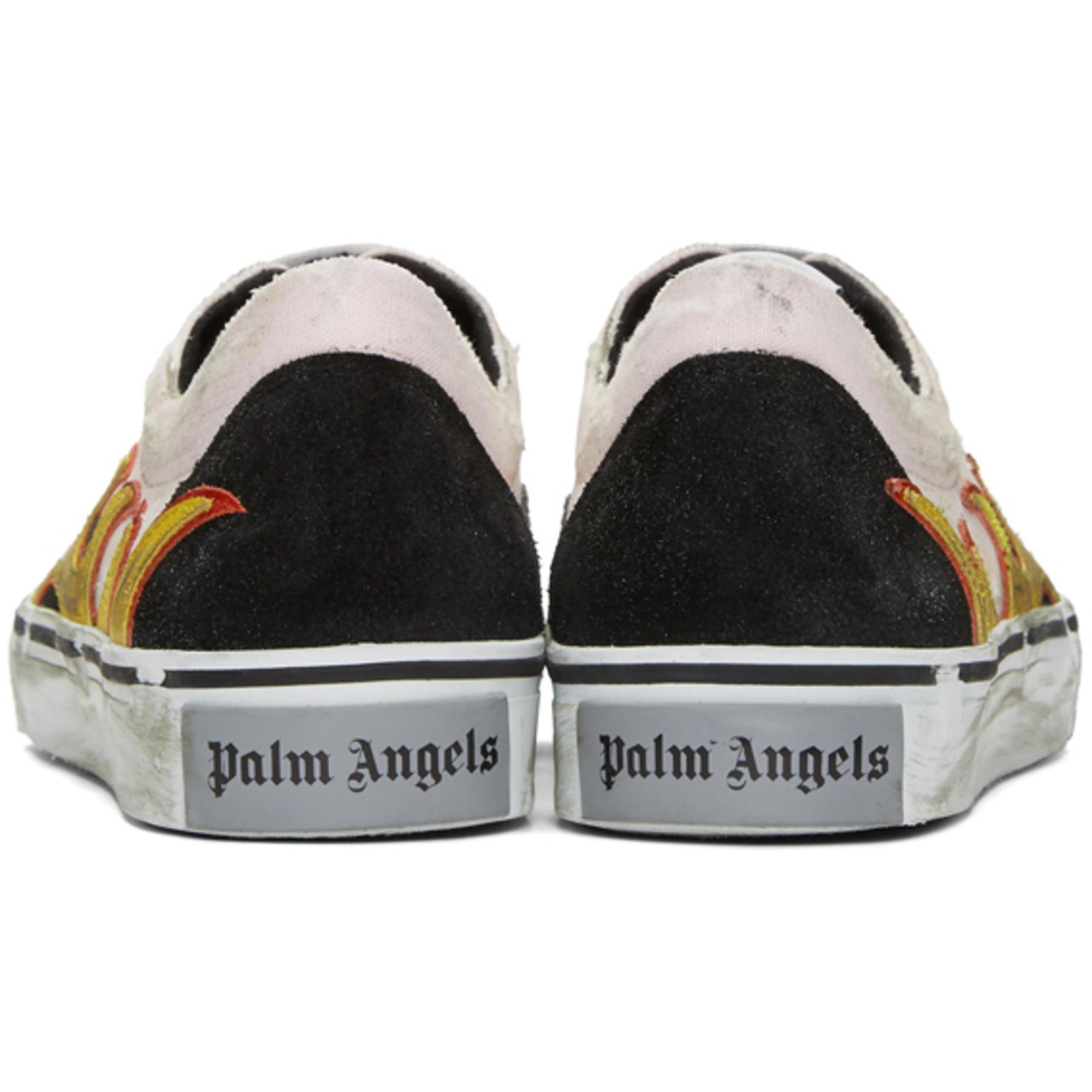 Palm Angels Suede Pink And Black Distressed Flame Sneakers